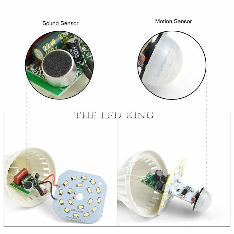 חכם PIR Led הנורה עם תנועת חיישן E27 5W 7W 9W סאונד Motion חיישן אור נורות מנורה 220V אורות אוטומטי שער מדרגות לבן