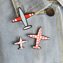 Fashion Airplane Brooches set Cartoon Plane Aircraft Brooch for boys girls Backpack Bag Clothes Collar Lapel Pins Button Badge(China)