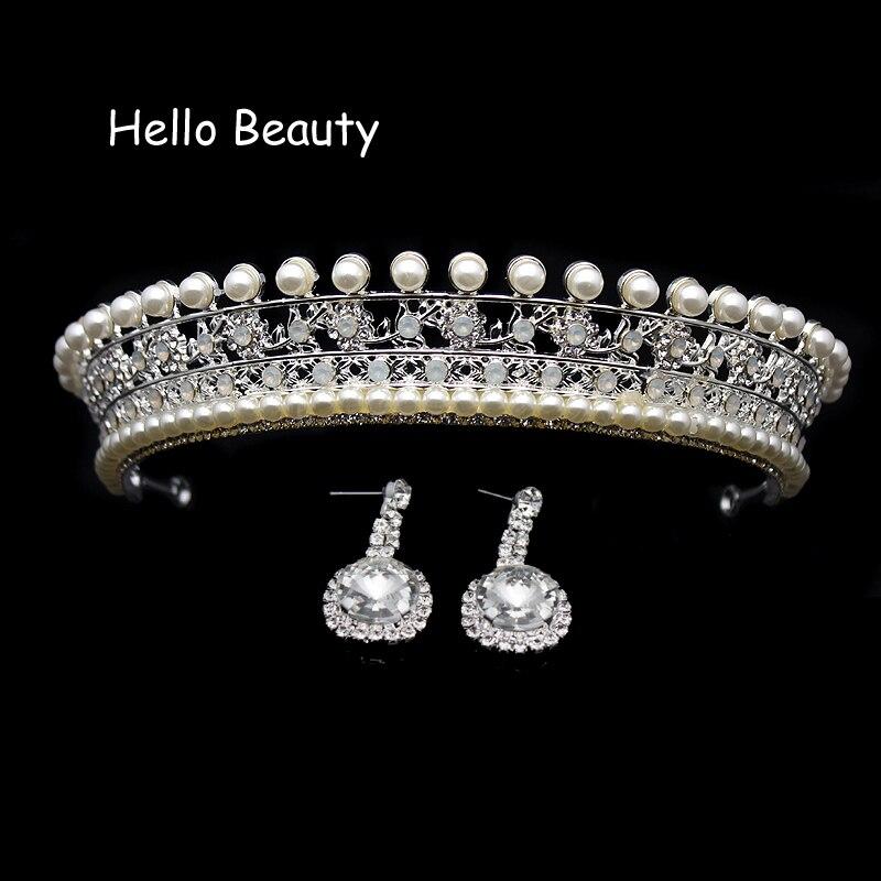 Silver Color Beauty Vintage Pearl Princess Tiara Headband Rhinestone Large  Wedding Prom Crown Crystal Bridal Hair 6fbf806a71fc