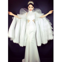 Women Fashion Stage Costume Clothes Formal prom party White long Trailing cloak Dress singer dancer star performance Dance wear