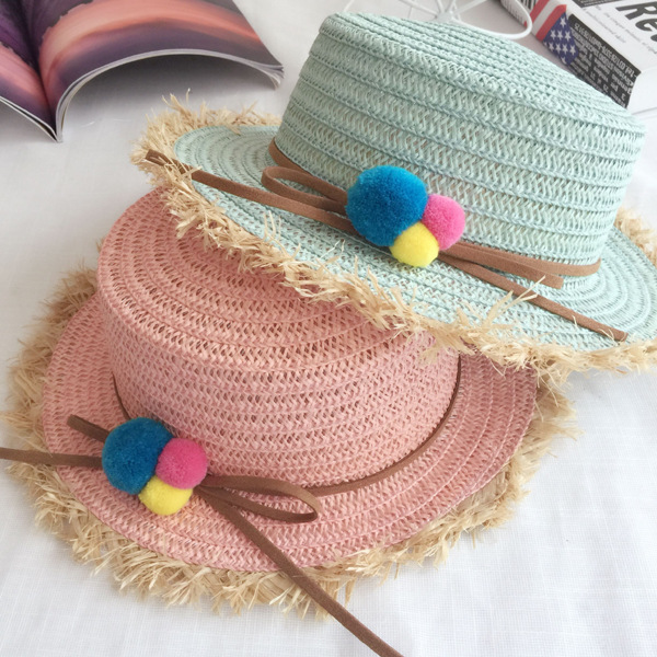 b96e3fe68b6 Children sun Hat Summer Color Ball Bowknot Toddler Beach Straw Hat Girl  Floppy Wide Brim Holiday Cap Flower Straw Hat Wholesale-in Hats   Caps from  Mother ...