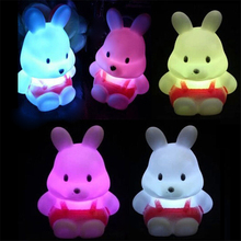 LED Night Light Colorful Rabbit Press Down Touch Room Desk Bedside Lamp for Baby Kids Christmas Gifts