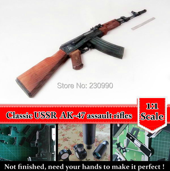 Original 2017 New Scaled Cross Fire AK47 3D Paper Model Simulation Weapons Assault Rifle Model Gun Toys For Children Adult