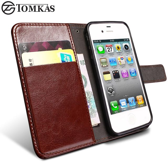 141ef989c63809 TOMKA Wallet Flip Case For iPhone 4 4S Luxury Broncos PU Leather Cover With  Card Holders Stand Case For iPhone 4S Phone BagBack-in Wallet Cases from ...