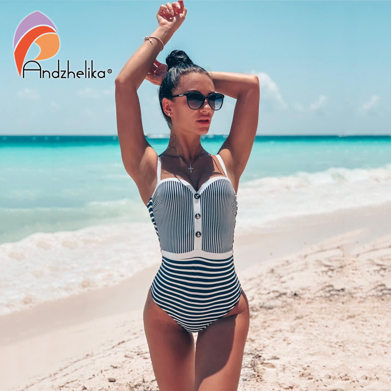 Andzhelika One-Piece Swimsuit Bandeau Push-Up White Striped Beach Women Sexy