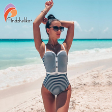 Andzhelika セクシーな白のストライプバンドーワンピース水着女性プッシュアップボディスーツ 2020 夏水着ビーチ水着水着
