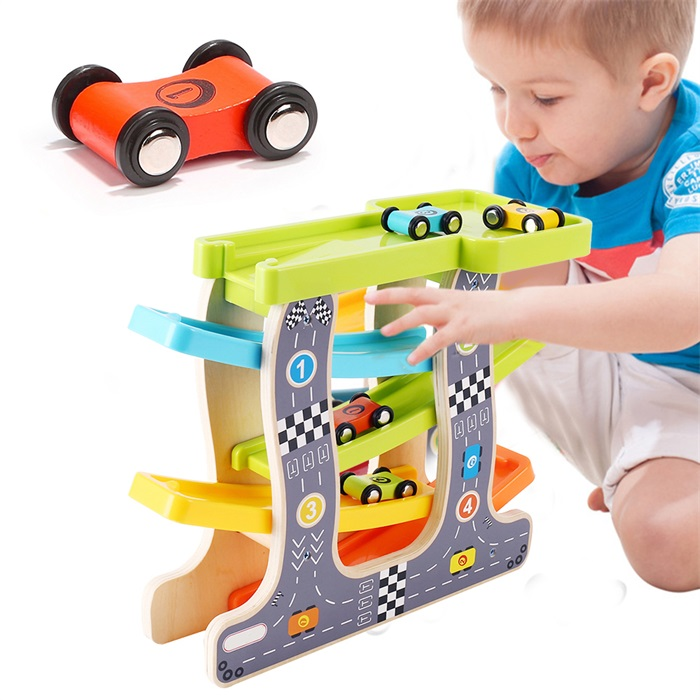 Baby Kids Wooden Ladder Gliding Car Wooden slot Track Car Toys Educational Model to Slide toy for children boy gifts