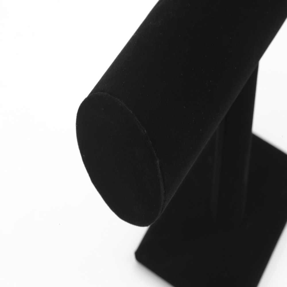 23 см/9,1 дюйма браслет ожерелье цепь часы Т-бар стойка черный бархат ювелирные изделия Дисплей стенд держатель стойки