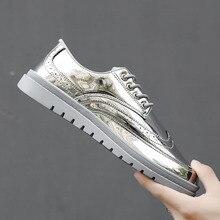 7891c034e4 Gnome marca de luxo bling couro sapatos casuais homens de ouro prata  brogues homens sapatos lace up adulto condução sapatos masc.