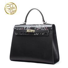 Genuine Leather women bag  Pmsix 2016 new fashion elegant handbag Fashion Messenger Bag Platinum package