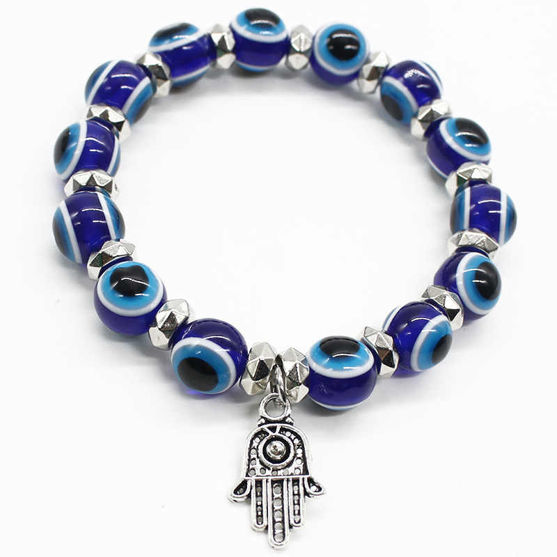 ISINYEE mode Vintage Hamsa bracelet à breloques pour femmes fille bleu turc mauvais œil cristal perles Bracelets main de Fatima bijoux