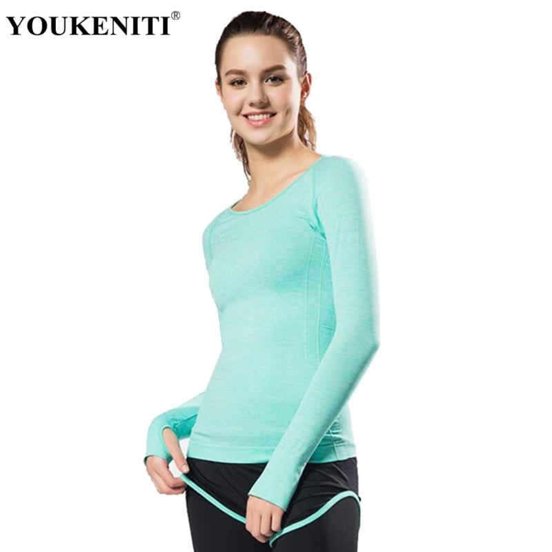 Novo Estilo Da Menina Da Ioga Camisas de Ginástica Compressão Camisas Esporte Secagem rápida Correndo Longo Manga Yoga Camisas Esportivas Exercício Top