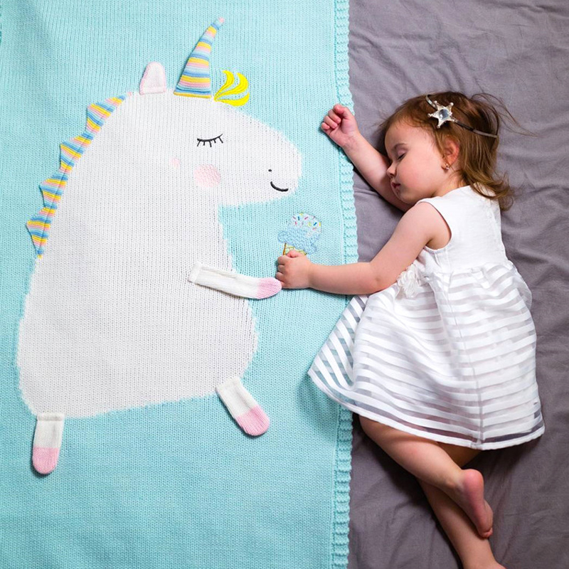 2018 Toddler Boys Girls Knitted Blanket Unicorn Sleeping Swaddling Blankets Baby Bed Cover Soft Bath Towel  Kids Wrap Beach Mat baby with blanket in crib
