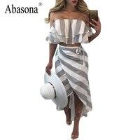 Abasona Two Piece Set Striped Print Women Maxi Dress Summer Sexy Off The Shoulder Ruffles Beach