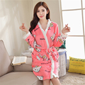 Women new Hello Kitty Cat Cartoon Flannel Sling skirt+Robe bathrobes beautiful Two-piece suit Home clothing