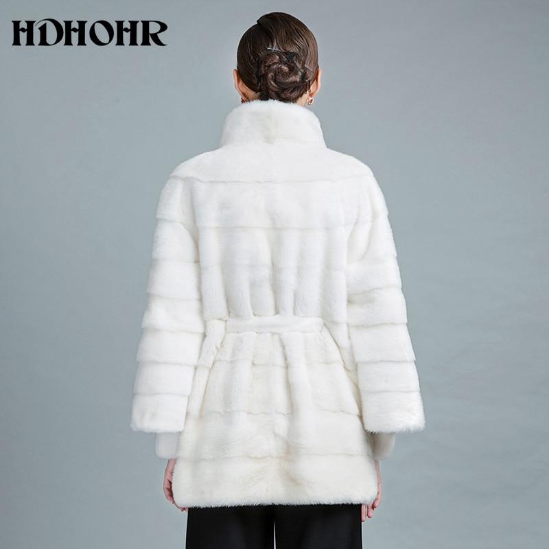HDHOHR 2019 Νέα Λευκή Mink Γούνα Γούνα Φυσική - Γυναικείος ρουχισμός - Φωτογραφία 4