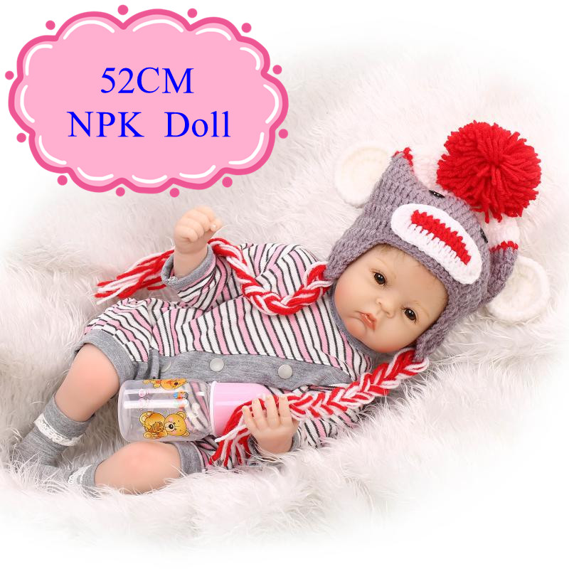 Hot Sell 52cm 20inch Realistic Reborn Dolls With Wolf Style 20inch Baby Doll Clothes Lifelike Reborn Benecas De Silicone Hot Toy short curl hair lifelike reborn toddler dolls with 20inch baby doll clothes hot welcome lifelike baby dolls for children as gift
