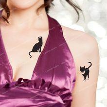 Sexy Small Black Cat Temporary Tattoo
