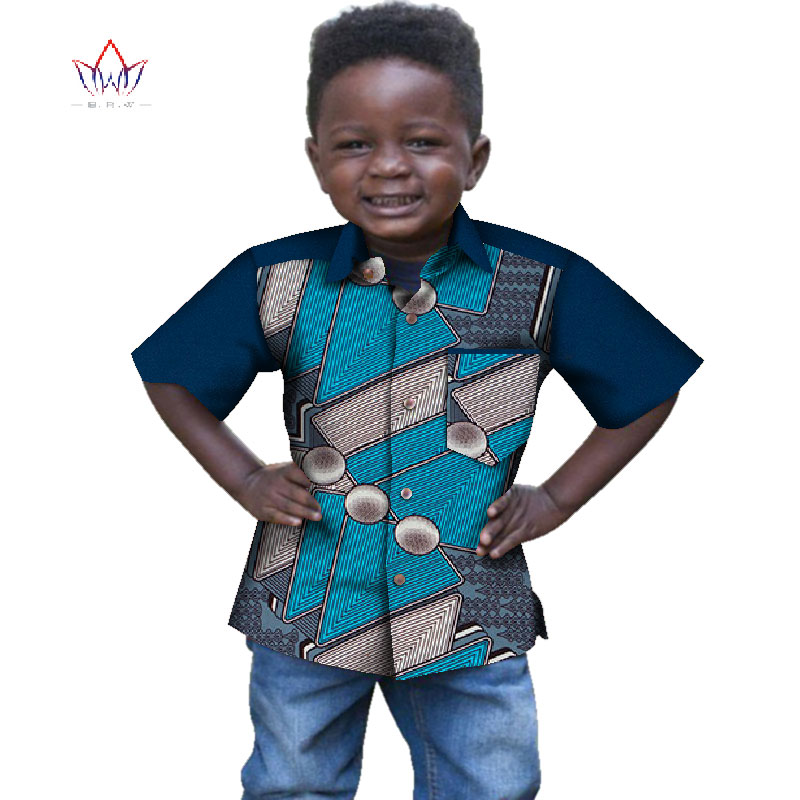 2019 Africa Style Shirt Children Clothing Dashiki Customized Clothes For Cute Boys Sweet Traditional Clothing WYT329