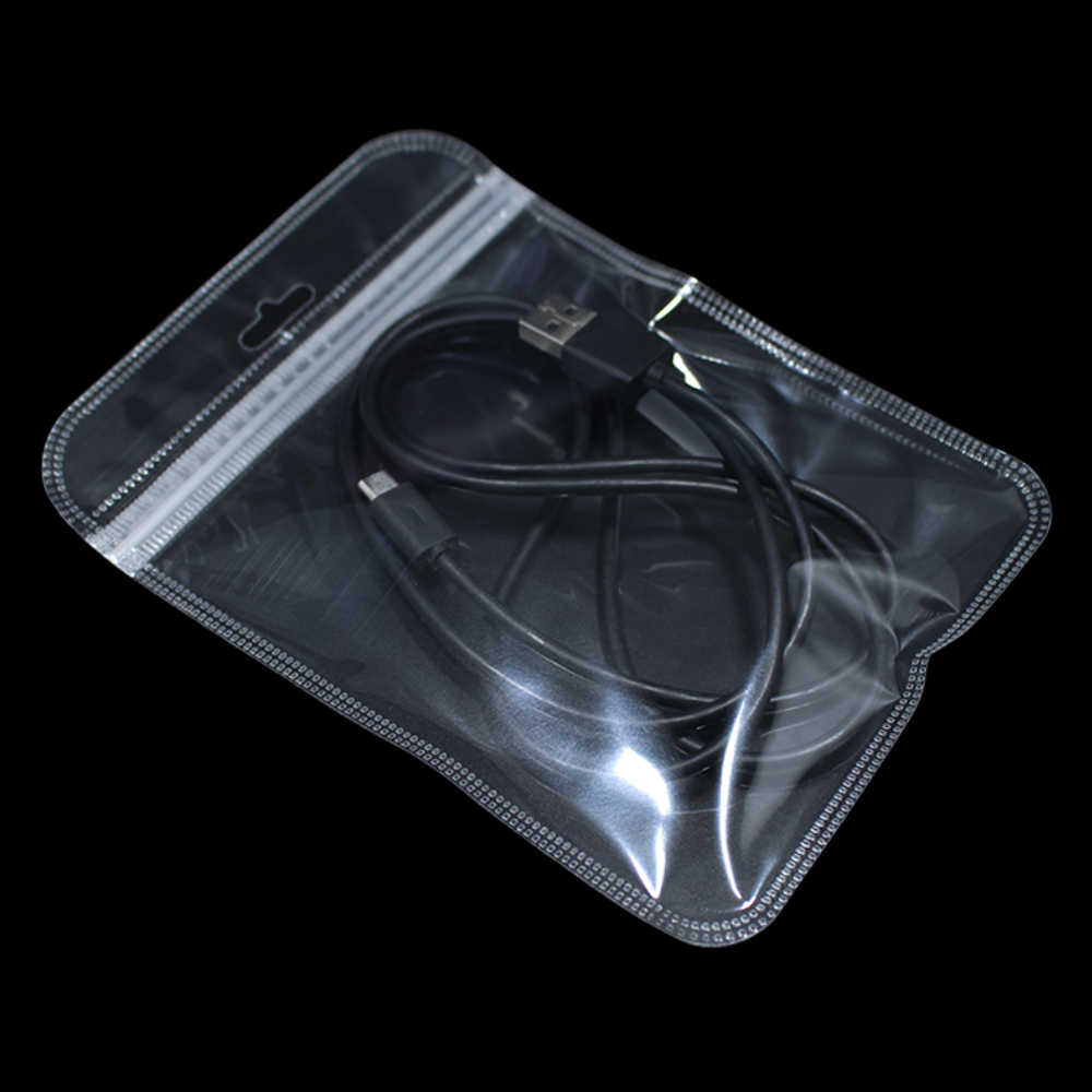 200Pcs/Lot Transparent Self Seal Small Plastic Zip Lock Packing Bag With Hang Hole Clear Poly Grocery Package ZipLock Pouch Bags