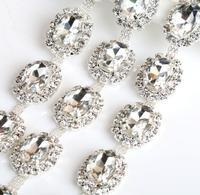 1 Yard Owalne Kryształowe Cyrkonie Wykończenia Taśmy Do Szycia Odzież Ślubna Torba Buty Dekoracji