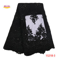 French Mesh Lace Fabric 2018 High Quality Beaded Lace Four Color Blue Black Gold Pink Lace Fabric For Wedding Dress NA1521B 1