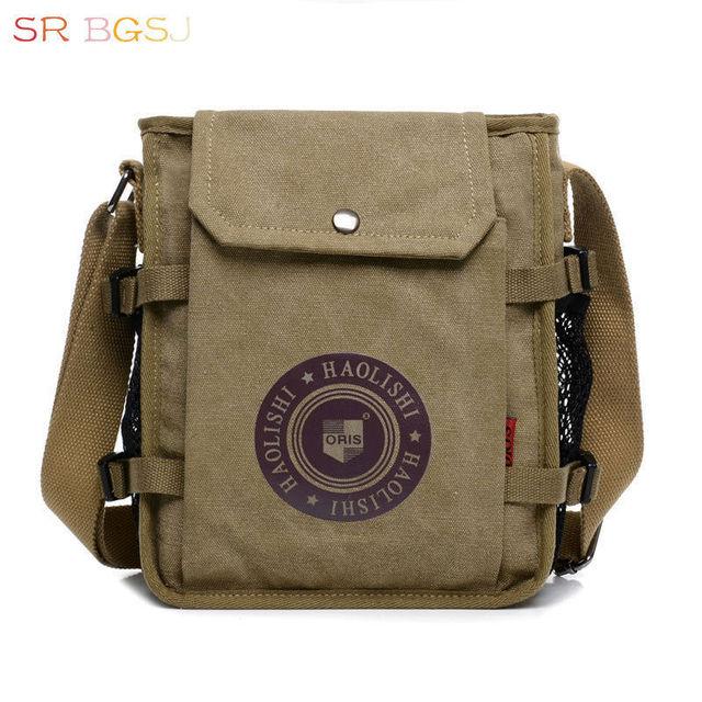 e1398643d4 Free Shipping Men s Vintage Canvas Leather Satchel School Military Shoulder  Bag Messenger Bag