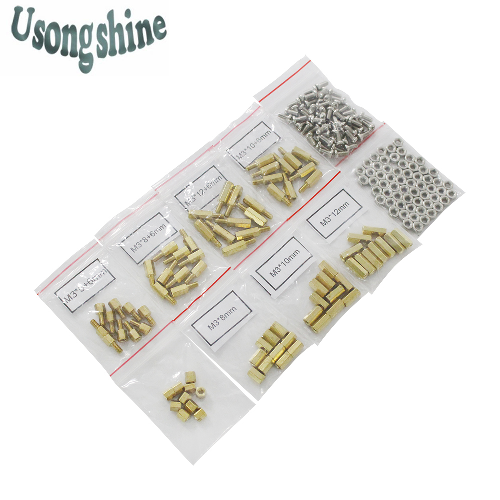 200pcs/lot M3 5/10/15/20mm PCB Hex Male Female Thread Brass Spacer Standoffs/Screw/Hex Nut Assortment set Kit with Plastic Bag fashion baby flats tassel soft sole cow leather shoes infant boy girl flats toddler moccasin 17mar20