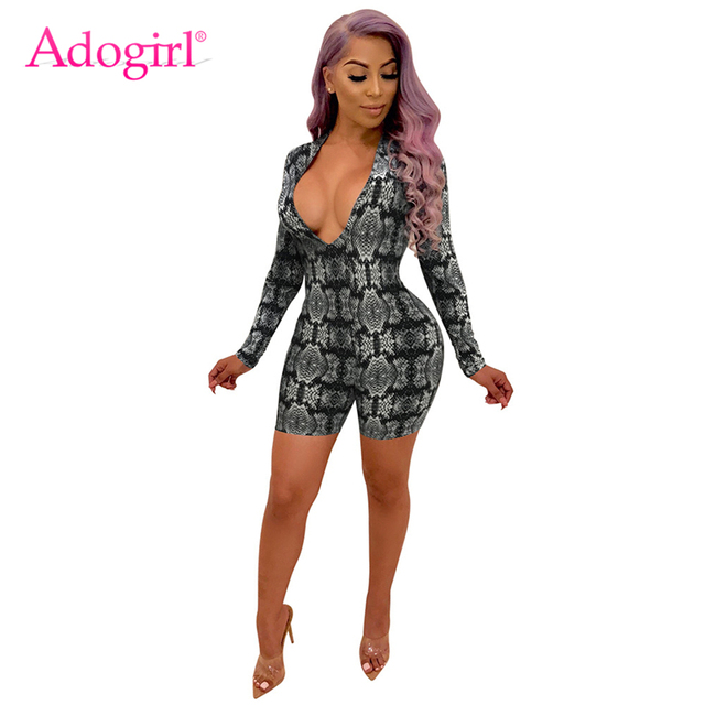 b2a21f2eac2 Adogirl Snakeskin Print Women Sexy Bandage Jumpsuit Plunge V Neck Long  Sleeve Slim Playsuit Night Club