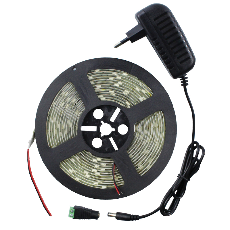 IP65 waterproof SMD 5050 LED Strip Light DC12V 5M 150 Leds Diode Tape with 2A Power Adapter Supply LED Ribbon Flexible Led strip