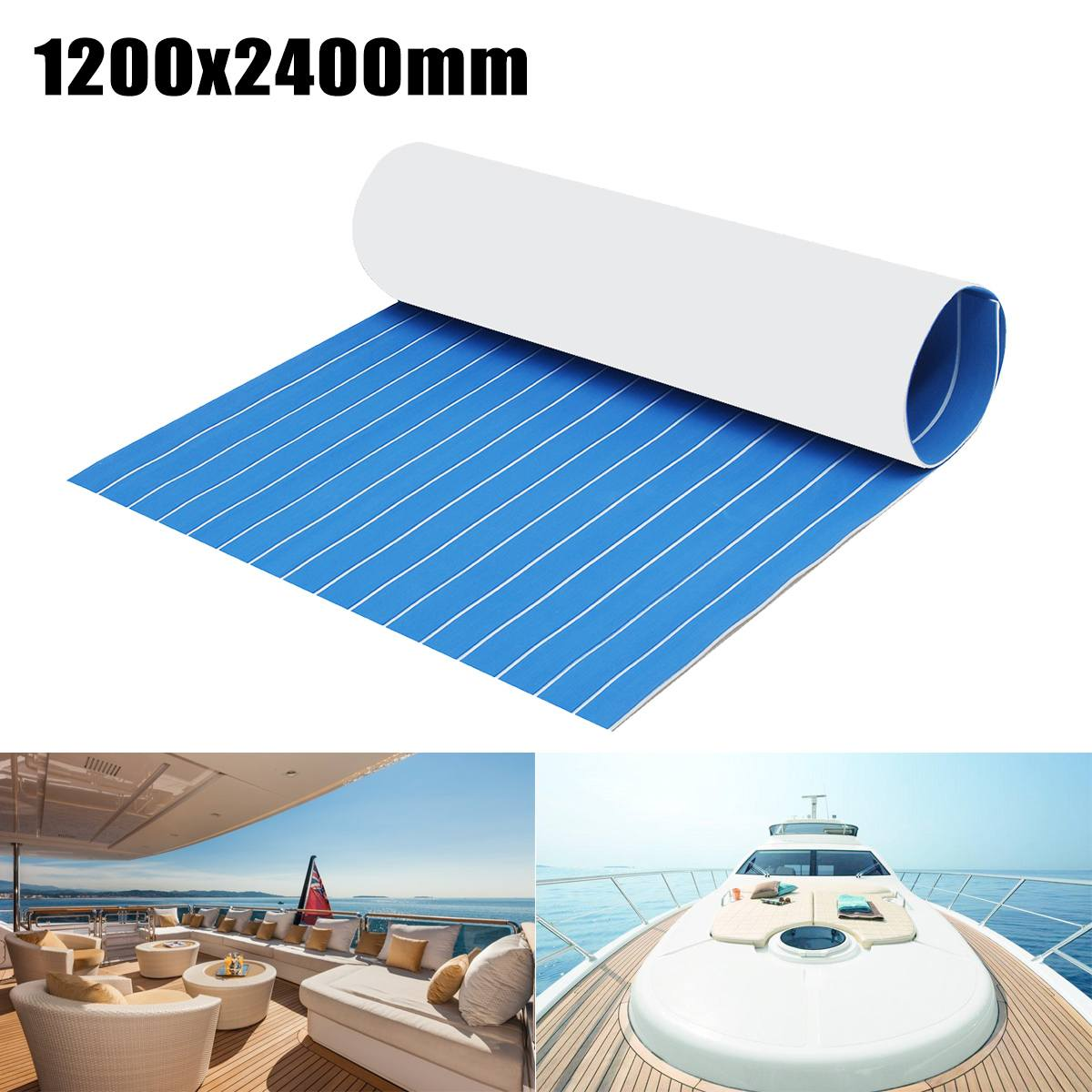 1200x2400mm 5mm/6mm Self-Adhesive Foam Teak Decking EVA Foam Marine Flooring Faux Boat Deck Sheet Accessories Marine Blue White