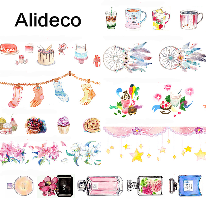 Alideco 1 Pcs Washi Masking Tapes Cartoon Socks Drink Cake Decorative Adhesive Scrapbooking DIY Paper Japanese Stickers 10m
