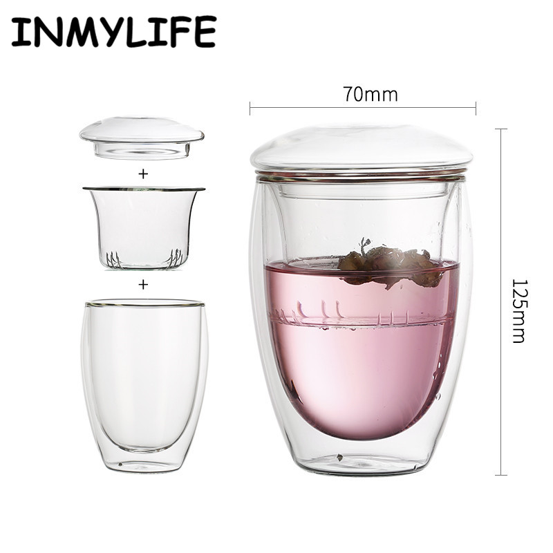 INMYLIFE Brand Double Layers Glass Tea Coffee Cups Mug With Strainer Filter And Cover Travel Mug Gift 250ML/8.5OZ