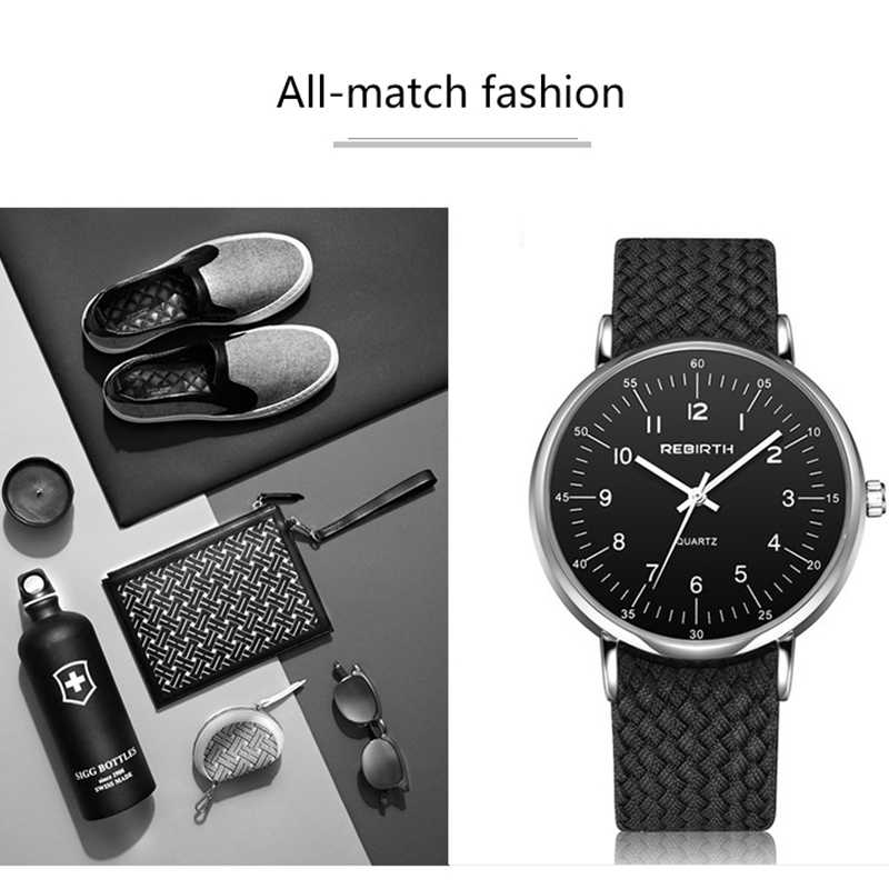 Relojes de cuarzo informales de lujo de marca REBIRTH, correa de tejido de nailon, relojes deportivos para hombre, relojes de pulsera para hombre, regalos de moda