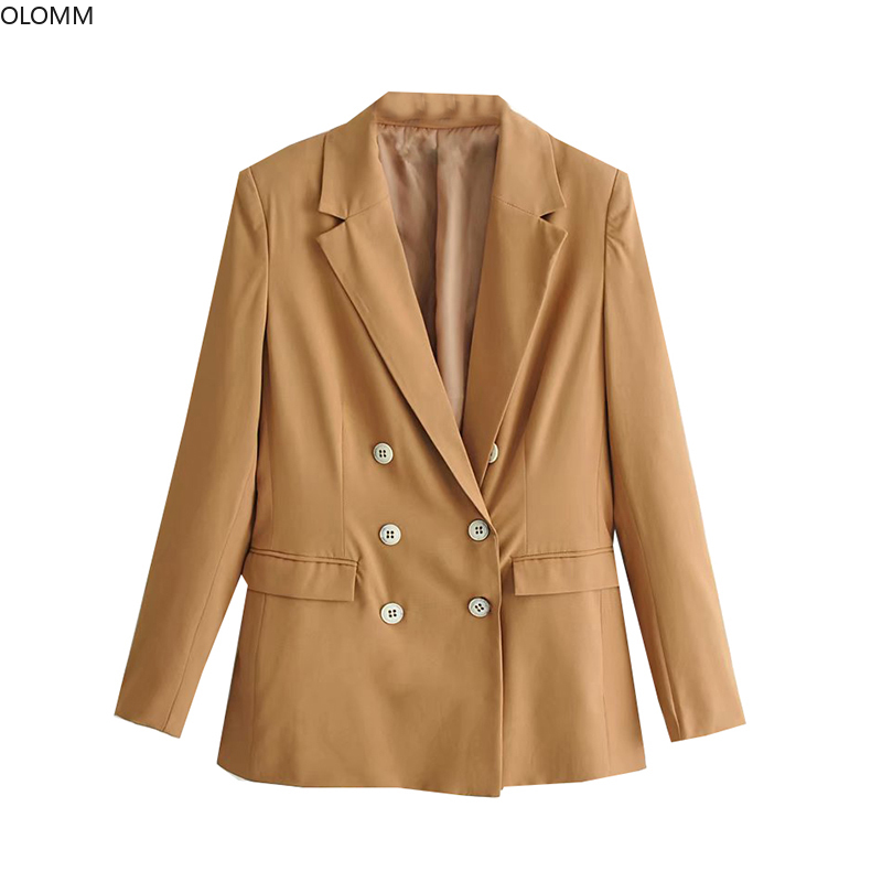 Women 39 s jacket 2019 autumn new women 39 s fashion temperament double breasted long long sleeved solid color suit jacket in Blazers from Women 39 s Clothing