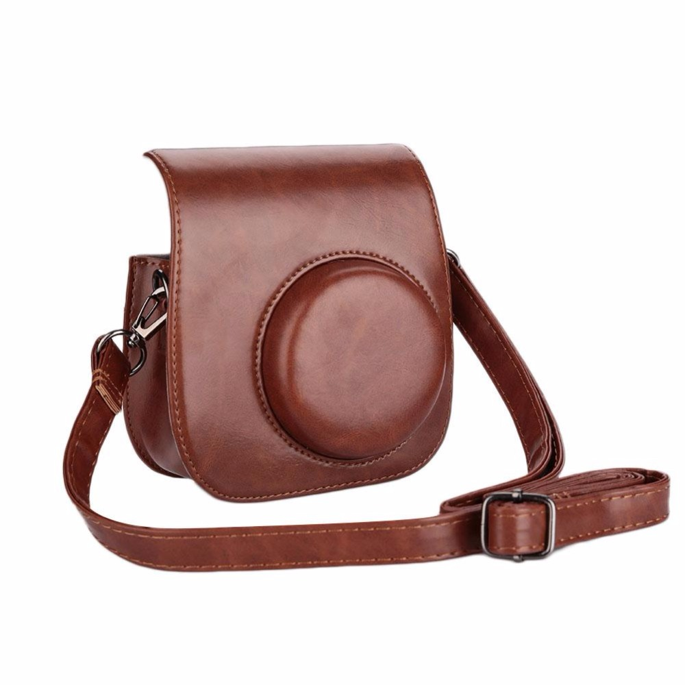 MVpower Leather Classic Vintage Camera Bag Case with Strap Pouch Protector For Fuji Fujifilm Instax Mini 8 For Polaroid Cam