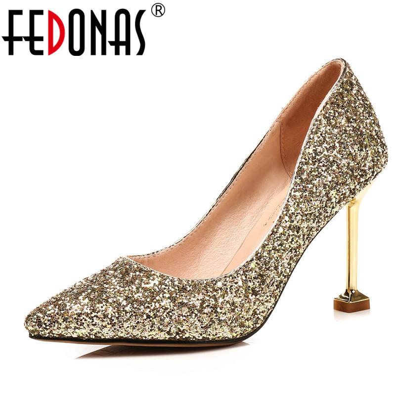 Фото FEDONAS Women Sequined Cloth Shoes New Pointed Toe High Heels Single Shoes Women