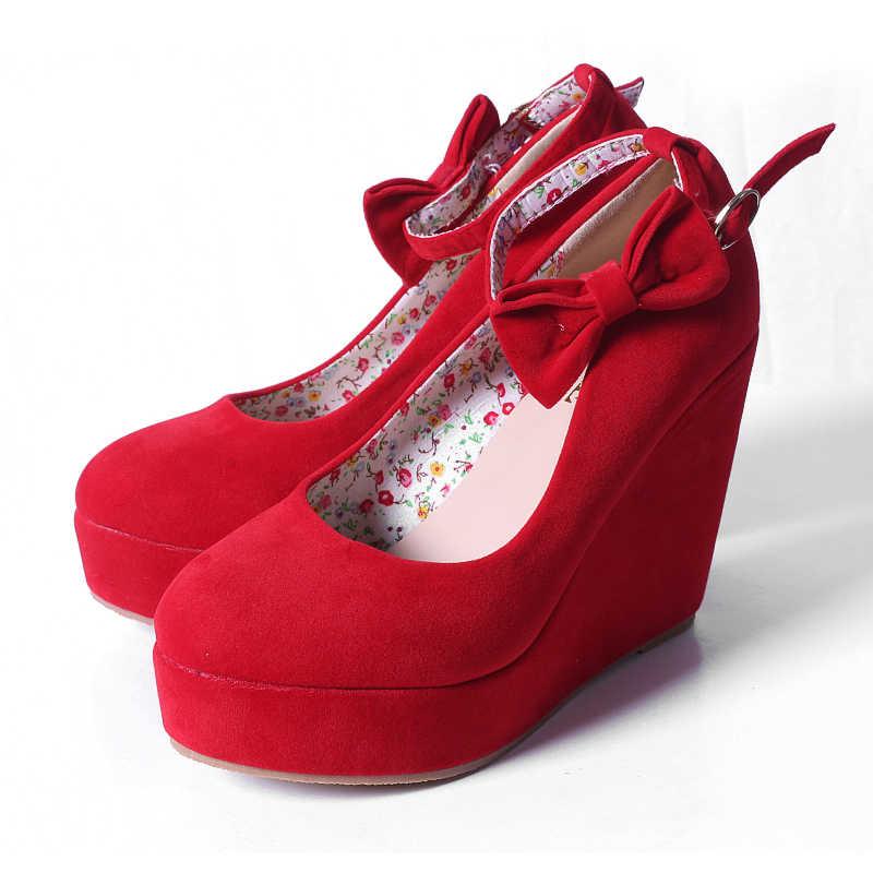 MCCKLE Kadınlar Yüksek Topuklu Ayakkabı Artı Boyutu Platformu Takozlar Kadın Pompaları kadın Flock Toka Papyon Ayak Bileği Kayışı Kadın Düğün ayakkabı