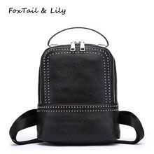 Лисохвост и Лили Брендовые женские натуральная кожа рюкзаки Популярные заклепки черный небольшой рюкзак женский Роскошные металлической ручкой сумка