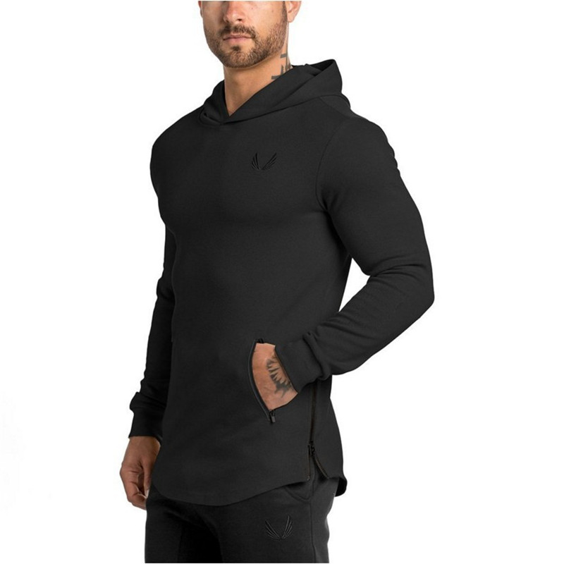 2019 Men Hoodies Pocket Embroider Side Zipper Gyms Bodybuilding Sweatshirt Cotton Sweatshirts Hooded Pullover 5 Color