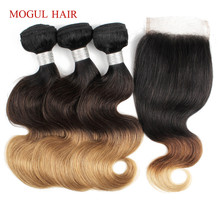 MOGUL HAIR 2/3/4 Bundles with Closure Ombre Honey Blonde Bundles With Closure 1B 4 27 Brazilian Body Wave Ombre Remy Human Hair oxette 15 24 1b 33 27 5 ombre clip hair