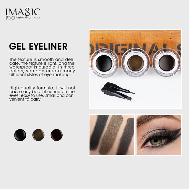IMAGIC Eyeliner Waterproof Eyeliner Gel Makeup Cosmetic Gel Eye Liner With Brush 24 Hours Long-lasting  Eye Liner Kit 4