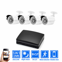 Hot Bullet IR Outdoor 1080P AHD Security Camera System 4CH Cctv Camera Kit 1080P Analog Camera Kit CCTV Mini DVR Camera Kits