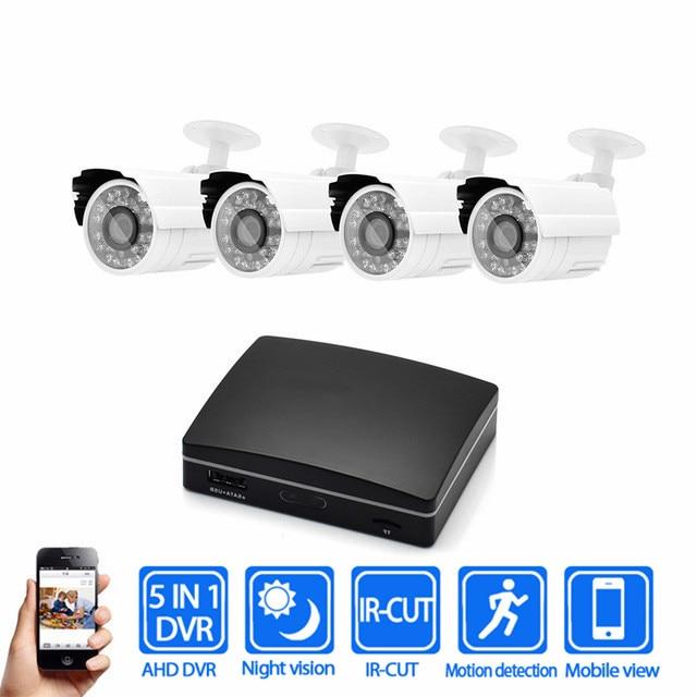 Hot Bullet IR Outdoor 1080P AHD Security Camera System 4CH Cctv Camera Kit 1080P Analog Camera Kit CCTV Mini DVR Camera Kits стоимость