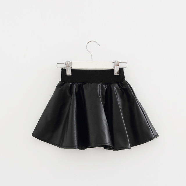 Girls Skirts New Fashion PU Faux Leather jupe Elastic Waist Baby Girl Tutu Skirt Autumn Black Kids Short Skirt Children Clothing