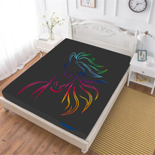 Colorful Horse Bed Sheet Simple Animal Design Fitted Sheet Deep Pocket Bedding Black Bedclothes Home Decor D20