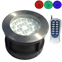 Stainless Steel RGB Underground Lamp LED Underwater Light with Remote Controller for 12V Swimming Pool Pond