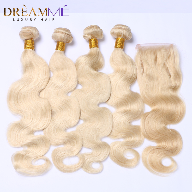 #613 Color Brazilian Body Wave Human Hair 3 Bundles With 4X4 Lace Closure Blonde Hair With Closures Remy Hair Dream Me Hair
