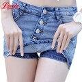 Verão 2016 Nova Moda Calções Skort Denim Estilo Coreano Plus Size S-3XL das Mulheres Skorts Saia Sli Mulher Sexy Short calças de brim