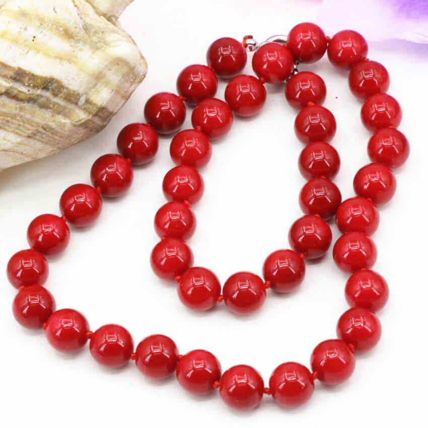 New 10mm kunstmatige coral rode kralen ketting vrouwen fashion #GM57